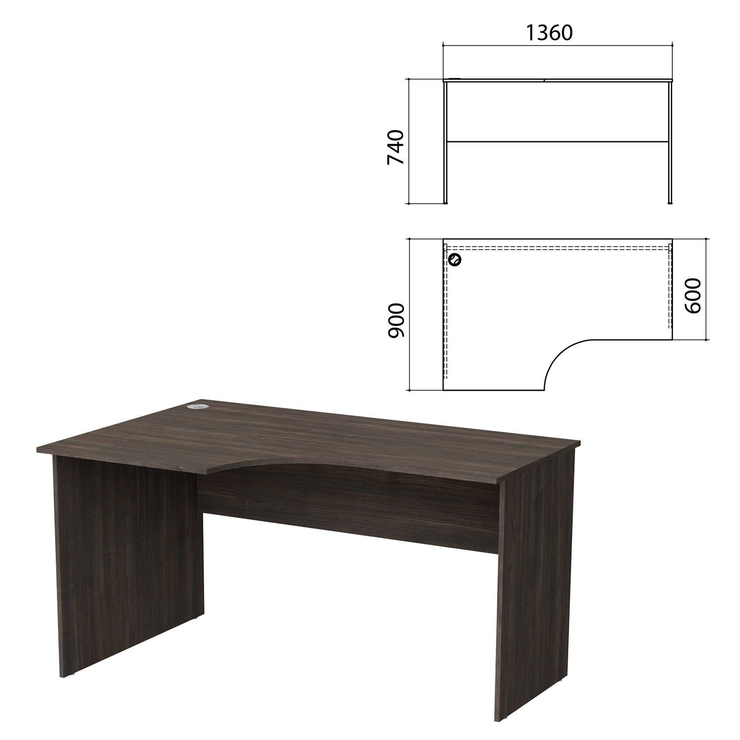 "Table written ergonomic ""Budget"" 1360 x900s740 mm, left, oak toledo"