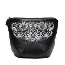 Leather cosmetic bag 'Dream' in black with silver embroidery