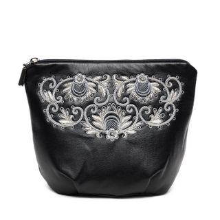 "Leather cosmetic bag ""Dream"" in black with silver embroidery"
