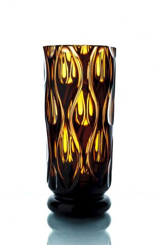 "Crystal vase for flowers ""Bohemia"" amber-violet"