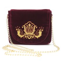 Velvet clutch 'Lily' Burgundy with gold embroidery
