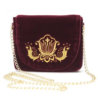 """Velvet clutch """"Lily"""" Burgundy with gold embroidery"""