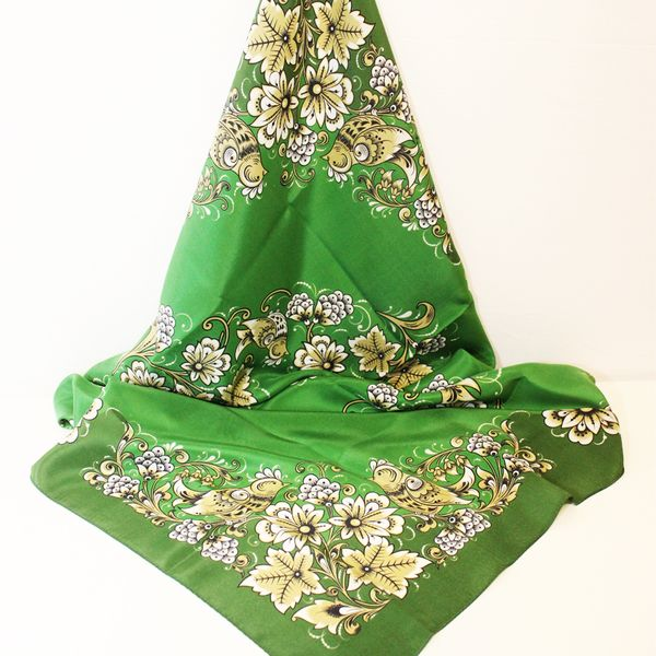 Silk scarf Khokhloma painting, green background