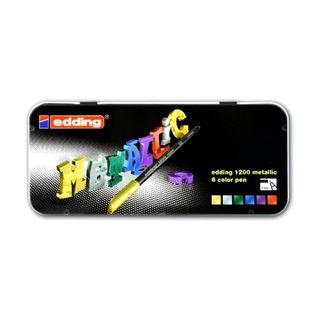 Edding / Colored marker pen set, round nib, 1 mm, 6 colors, metal box 6 colors