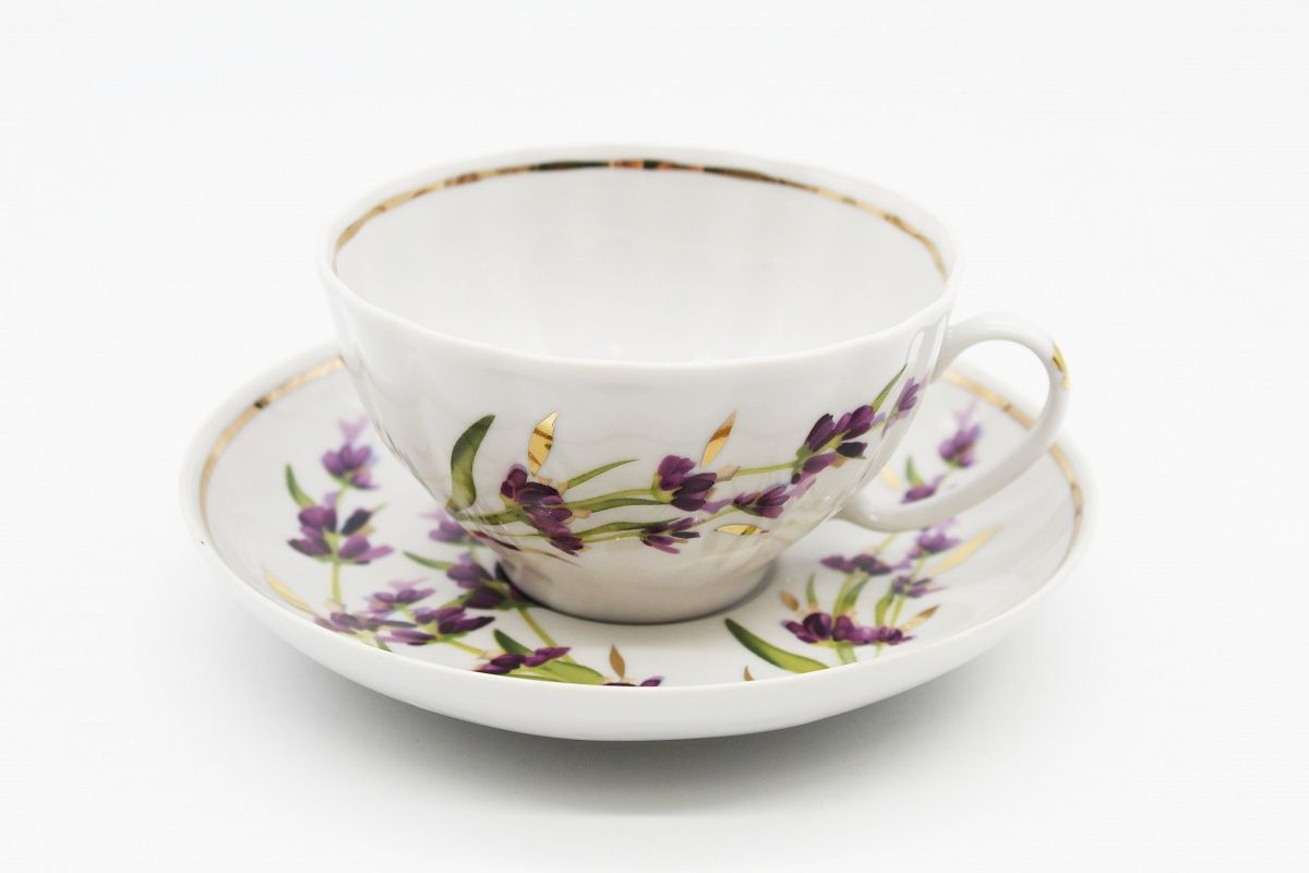 Dulevo porcelain / Tea cup and saucer set, 12 pcs., 275 ml White Swan Lavender Layering with gold