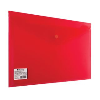 Folder-envelope with button BRAUBERG, A4, 100 sheets, transparent, red, heavy-duty, 0.18 mm