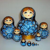 Matryoshka 10 seats Flower with glitter- souvenir