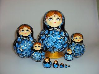 Matryoshka 10 seats Flower with glitter- souvenir