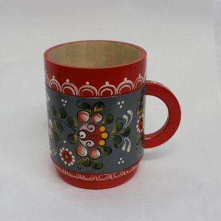 "Wooden mug ""painting Onega"" height 11.5 cm"