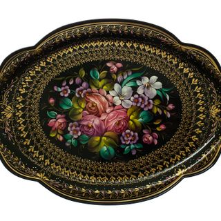 Zhostovo ornamental tray with composition