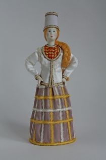 Costume on motives of Dymkovo toys. Russia. Doll gift