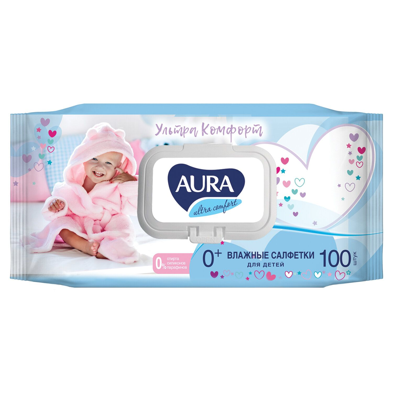 "AURA / Wet wipes SET 100 pcs., For children ""Ultra comfort"", hypoallergenic, alcohol-free, lid-valve"