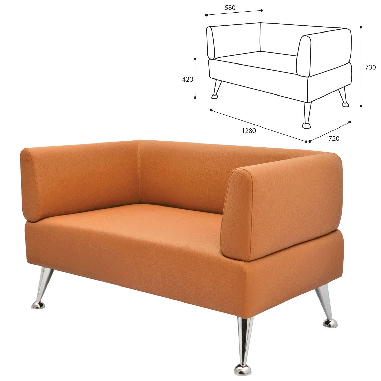 "GARTLEX / Sofa soft double ""Nord"", ""V-700"", 1280x720x730 mm, with armrests, eco-leather, orange"