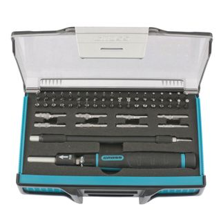 Screwdriver for precise work with set of bits and end nozzles, 48 items, GROSS, flexible adapter, foam