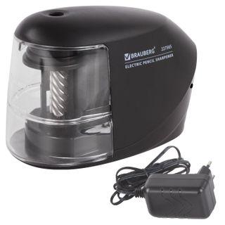 BRAUBERG electrical sharpener, 220V power supply or 4 AA batteries, reliable milling mechanism