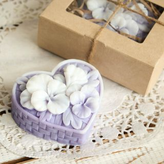 Homemade Olive Gift Soap Basket of Flowers Lilac