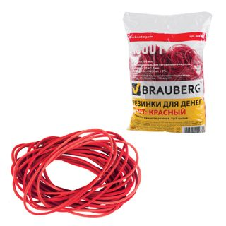 Universal bank rubber bands with a diameter of 60 mm, BRAUBERG 1000 g, red, natural rubber