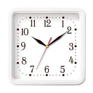 Wall clock TROYKA 81810835, square, white, white frame, 26х26х3,5 cm