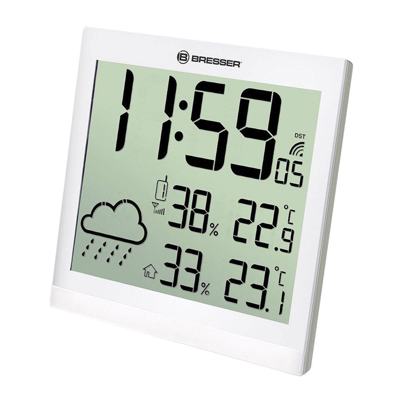 Meteorological station BRESSER TemeoTrend JC LCD, temperature sensor, hygrometer, clock, alarm clock, white