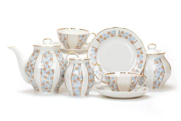 Dulevo porcelain / Tea set 21 pcs White Swan Confetti