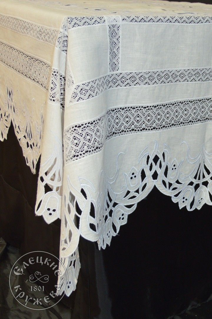 Yelets lace / Linen tablecloth С2176