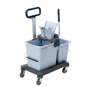 "VILEDA / Cleaning trolley ""UltraSpidPro"", 2 removable buckets 25 l + 10 l, platform, with handle, tunnel extraction"