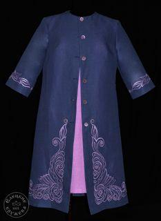 Coat womens linen embroidered С11786