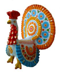 Dymkovo clay toys big Gobbler with a orange tail