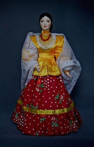 Doll gift porcelain. Summer costume of the don Cossacks. The end of the 19th century.