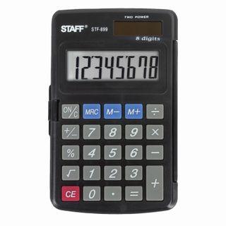 Pocket calculator STAFF STF-899 (117x74 mm), 8 digits, dual power supply
