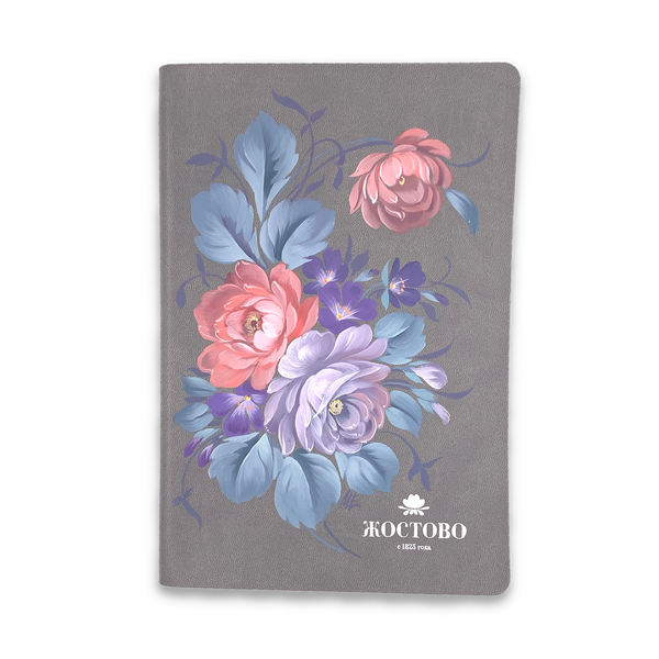 Zhostovo / Diary with hand-painted author's painting, gray