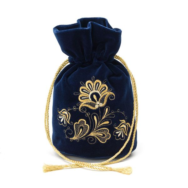 Velvet bag pouch Romance blue with gold embroidery