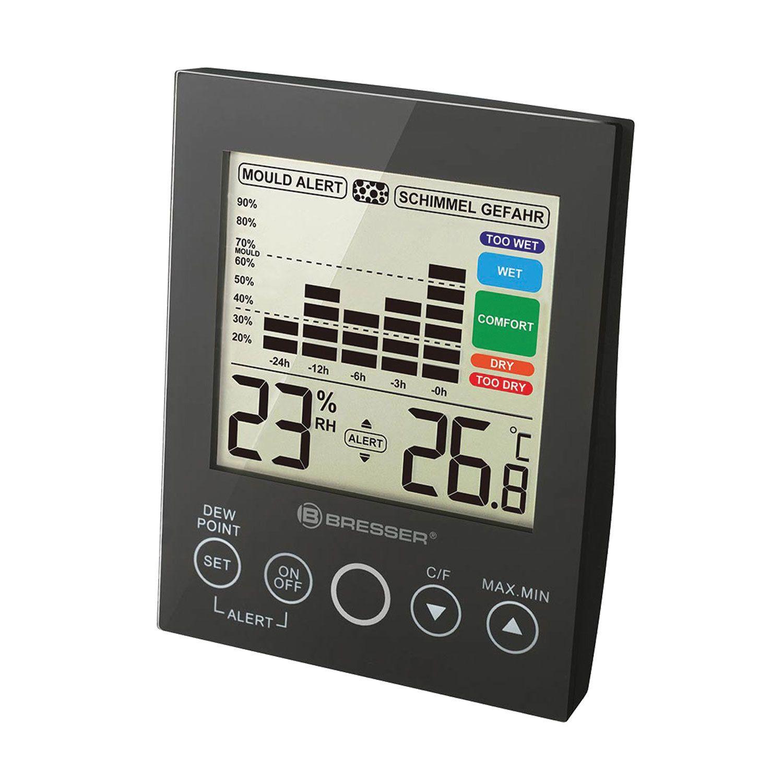 BRESSER / Mold Alert Hygrometer, Thermometer, 24 Hour Graph, Black