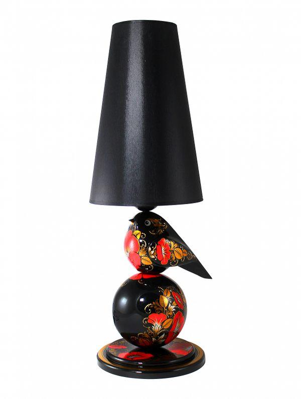 """Khokhloma painting / Table lamp """"Bindweed"""""""