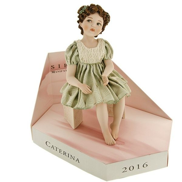 "Collectible porcelain doll Sibania ""Caterina"", h.22cm"
