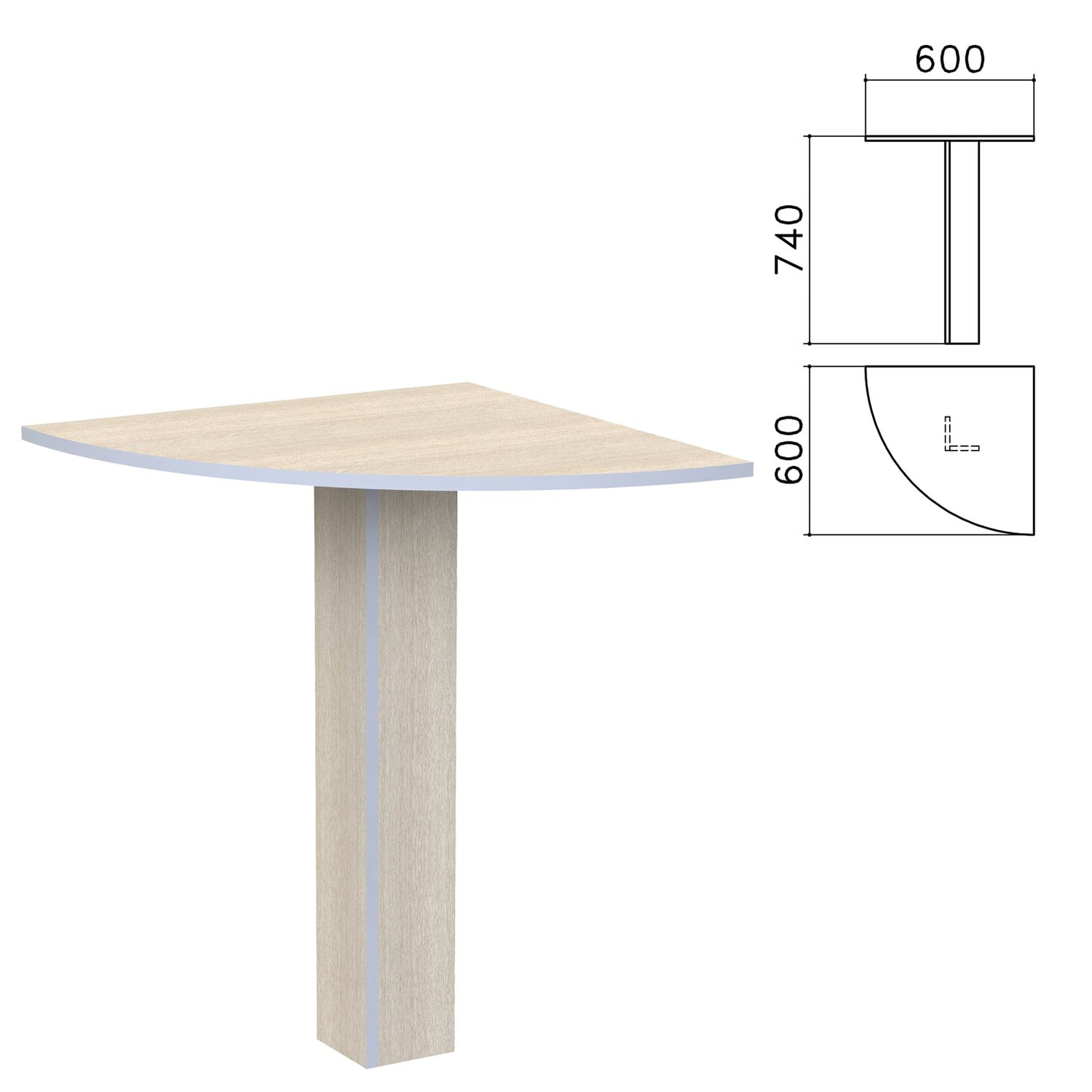 Budget corner table, 600 x600s740 mm, fairy light oak