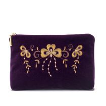 Velvet cosmetic bag Shamrock purple color with Golden embroidery