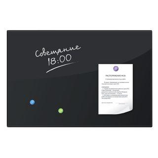 Board magnetic marker glass (40x60 cm), 3 magnets, BLACK, BRAUBERG