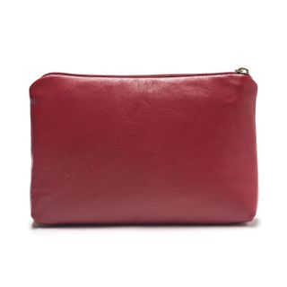 "Leather cosmetic bag ""Joy"" red color with Golden embroidery"