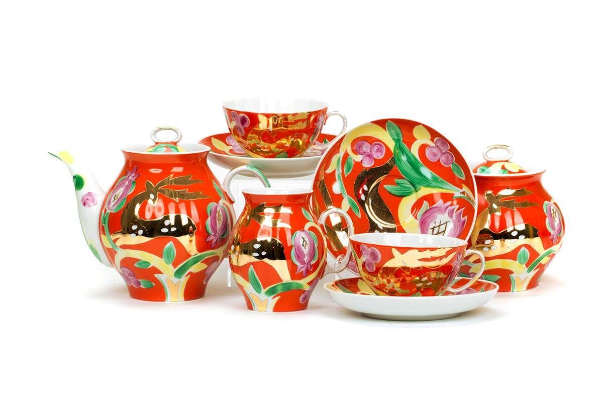 Dulevo porcelain / Tea set 15 pcs. White swan golden deer