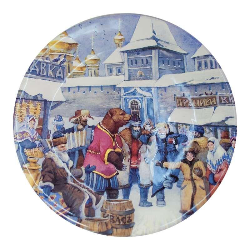 "Yaroslavl majolica / Plate ""Yaroslavl with a bear"""