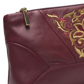 """Leather cosmetic bag """"Anastasia"""" Burgundy with gold embroidery"""