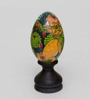 "Egg wooden ""Yellow frog 14 cm"