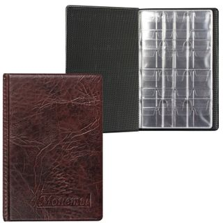 TOP-SPIN / Album for coins, 115x170x10 mm, for 108 coins, 2 + 4 + 2 sheets (pockets 23x25 + 32x40 + 52x54 mm)
