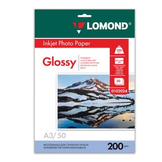 Photo paper for inkjet printing LARGE FORMAT, A3, 200 g/m2, 50 sheets, single-sided glossy LOMOND
