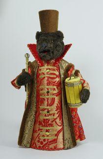 Souvenir doll - Bear in boyar fur coat and with a keg of honey