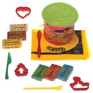 Plasticine JOVI (Spain), set of 6 colors 300 g. with 3 molds, 3 stack, oilcloth, plastic bucket