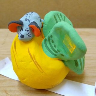Dymkovo clay toy Mouse on the turnip