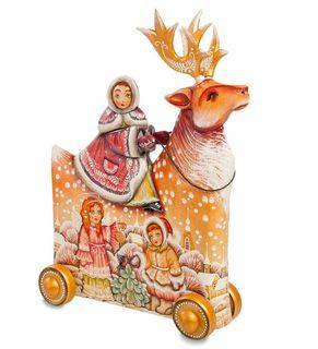"Wooden figurine ""Girl deer"" art painting"