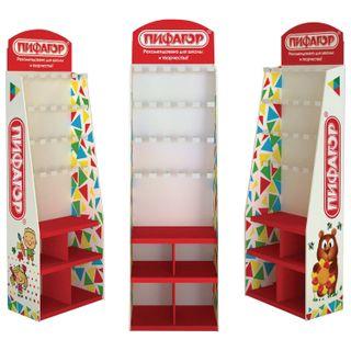 Stand for product outdoor PYTHAGORAS, 200х60х40 cm, 3 shelves, 25 hooks, cardboard
